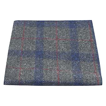 Grey & Blue Check Pocket Square, Tweed, Tartan, Plaid