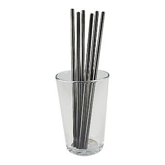 6x rechte metalen stro-zwart