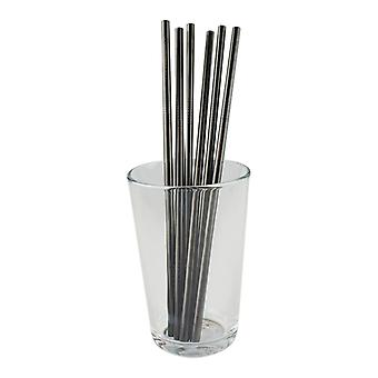 6x straight metal Straw-black
