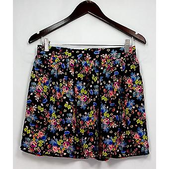 Socialite Skirt Floral Printed Pleated Pull On Black