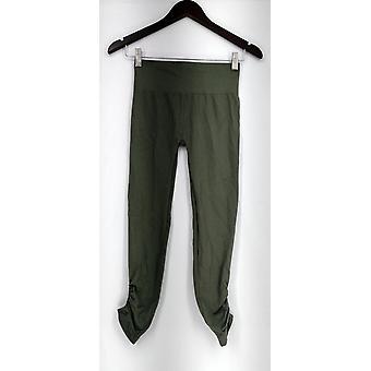 Leggings heredados Sin costura Ruched Tobillo Longitud Verde A262530
