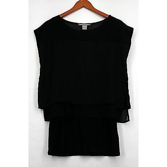 Kate et Mallory Top Short Sleeve Popover Top Length Underlay Black A425144