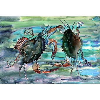 Carolines Treasures  8954PLMT Watery Teal and Purple Crabs Fabric Placemat