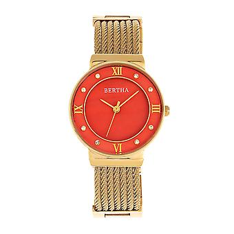 Bertha Dawn Mother-of-Pearl Cable Bracelet Watch - Gold/Orange