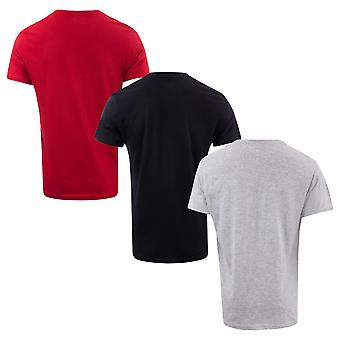 Mens Ben Sherman Theo 3 Pack T-Shirts In Red Grey Black- Set Comes In Red, Grey