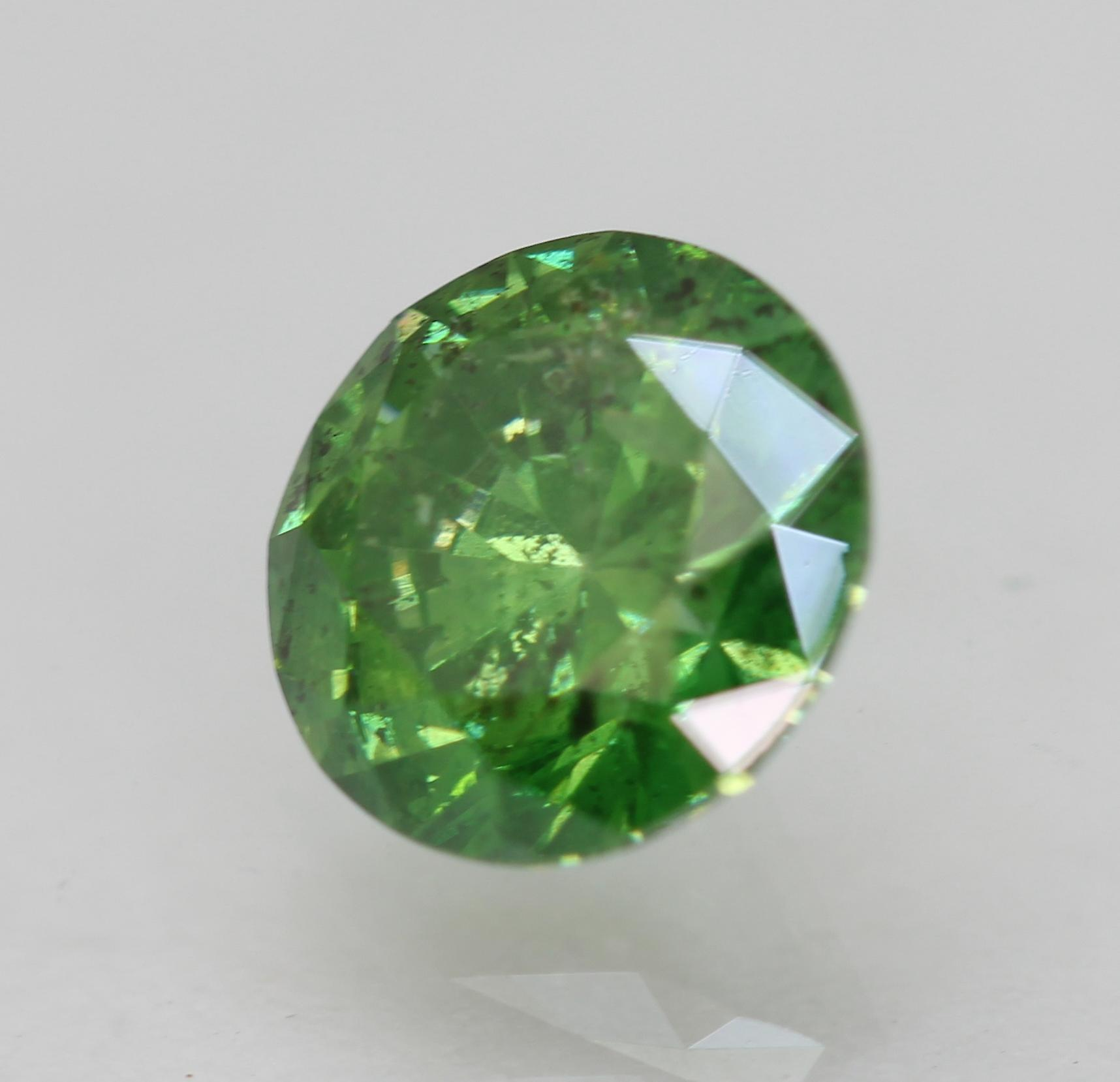 Cert 1.02 Carat Yellow Green SI1 Round Brilliant Enhanced Natural Diamond 6.52mm