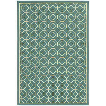 Riviera 4771e blue/ivory indoor/outdoor rug round 7'10