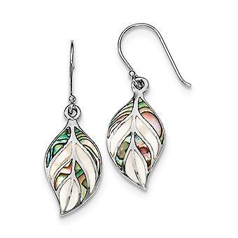 925 Sterling Zilver gepolijst blad gesimuleerde Moeder van Pearl en Abalone Long Drop Bungelen oorbellen sieraden geschenken voor Wome