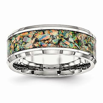 Stainless Steel Engravable Beveled Edge Polished With Simulated Opal 8mm Mens Ring Jewelry Gifts for Men - Ring Size: 7