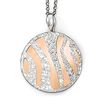 925 sterling sølv Rose-tone gnistre-cut med 2 tommer ext. halskæde-7,3 gram-16 tommer
