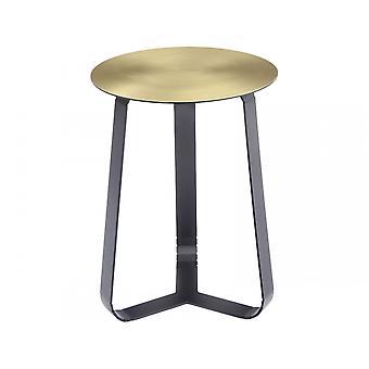 Libra mobiliário brilhante bronze mesa lateral circular com pernas pretas