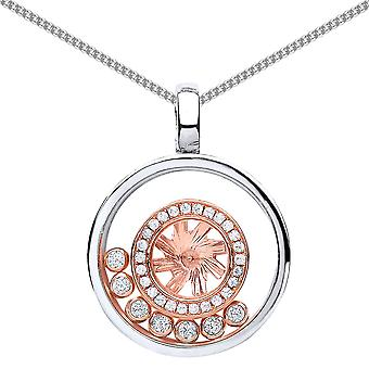 Jewelco London White and Rose Gold-Plated Silver Round CZ Floating Stone Alloy Wheel Pendant Necklace 18 inch