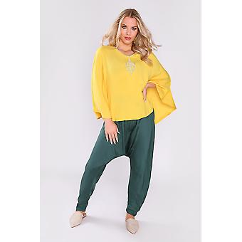 Jabador anissa manga de murciélago largo túnica top y pantalones de harén co-ord en amarillo