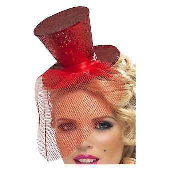 Womens rood Mini cilinderhoed op hoofdband Fancy Dress accessoire