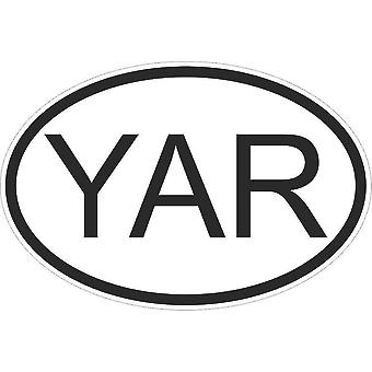 Autocollant Sticker Drapeau Oval Code Pays Voiture Moto Yemen Yemenite Yar
