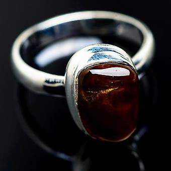 Mexican Fire Agate 925 Sterling Silver Ring Size 8  - Handmade Boho Vintage Jewelry RING974753