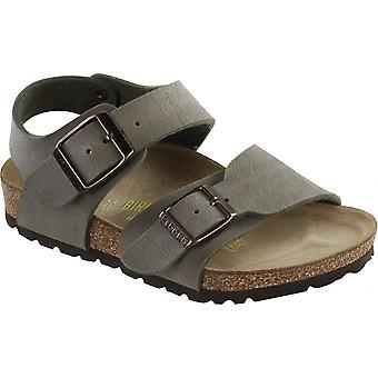 Birkenstock Kids New York Stone 087803, nubuck Birko-Flor sandaal met twee verstelbare gesp riemen
