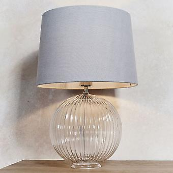 Endon Jemma 1 Light Light Clear Ribbed Glass & Satin Nickel Plate (solo base) 81896