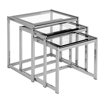 Henley Nest Of Tables Clear Glass/black Border/chrome