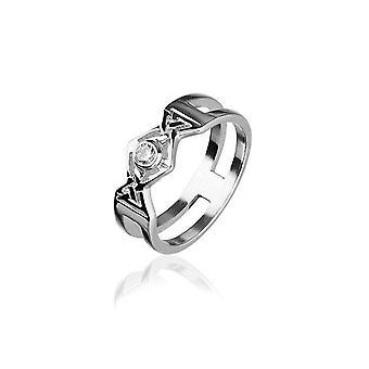 Sterling sølv traditionelle skotske ' cubid ' design ring med cubic zirconia sten