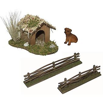 Dog hut with dog and fences for Christmas crib nativity scene nativity accessories