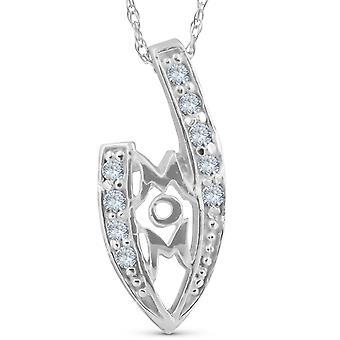 1/10ct timantti äiti rakkaus riipus kaula koru 14K valkoinen kulta