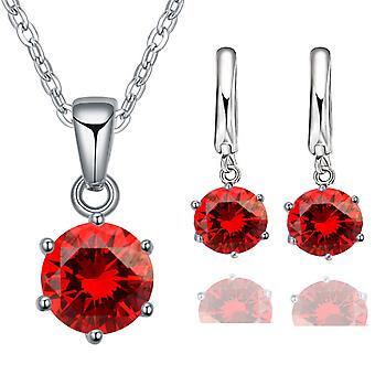 2pc crystal necklace & earrings solitaire stone set