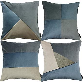 Mcalister textiles patchwork velvet gold, blue + grey cushion set