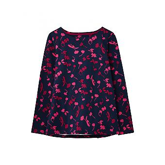 Joules Harbour Print Womens Long Sleeve Jersey Top - Navy Berry Floral
