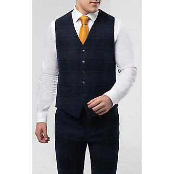 Dobell hombres azul tartán tweed chaleco ajuste regular