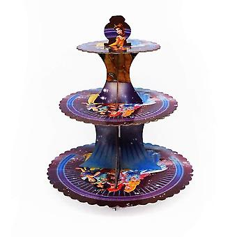 Princess Theme Foldable Cardboard 3-Tier Cupcake Stand