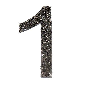 Gunmetal Glitter Number Sticker - Number 1