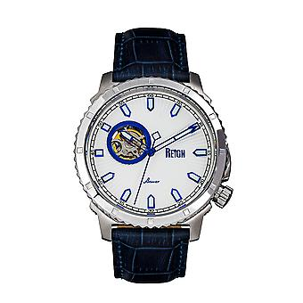 Reign Bauer Automatic Semi-SkeletonLeather-Band Watch - Silver/Blue