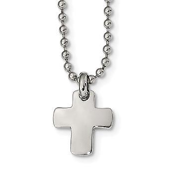 Acero Inoxidable Pulido Religioso Faith Cruz Collar 20 pulgadas Regalos de joyería para las mujeres