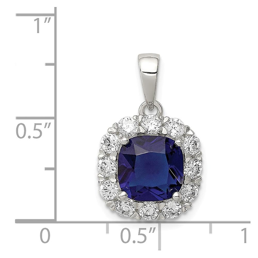 925 Sterling Silver CZ Cubic Zirconia Simulated Diamond and Blue Glass Pendant Necklace Jewelry Gifts for Women