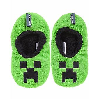 Minecraft Creeper Boy's Kid's Green Slipper Soft Slip On Socks