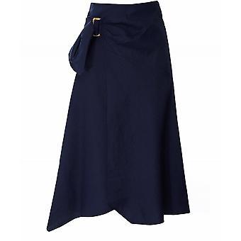 Vince Linen Blend Side Buckle Drape Skirt