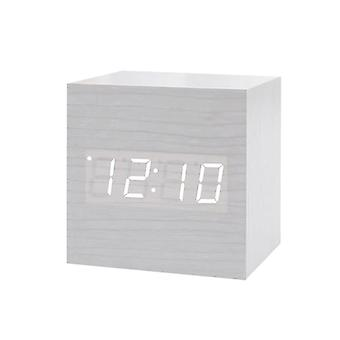 Digital Alarm Clock, Square - White