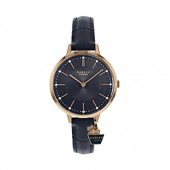 Radley Watches Ry2798 Women's Rose Gold Crystal Charm And Navy Leather Strap Watch