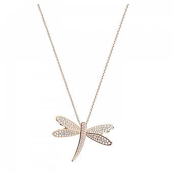 Swarovski Eternal Flower Rose Gold Tone Plated & White Crystal Dragonfly Necklace