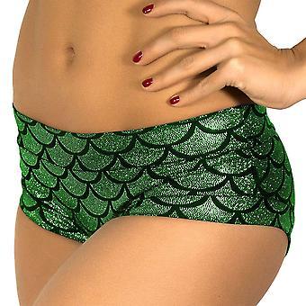 JFEELE Mermaid Shorts Women's Fish Scale Shorts - Green,Size S