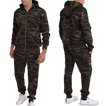 Men Camouflage jogging tracksuit set hooded sweatshirt sweatpants