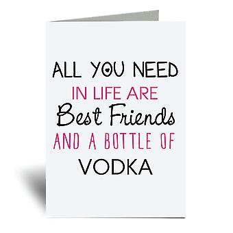 All You Need In Life Are Best Friends And A Bottle Of Vodka A6 Greeting Card