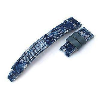 Correa de reloj de tela Strapcode 22mm miltat azul desconsuelo denim iwc grande piloto correa de reemplazo, asa de remache