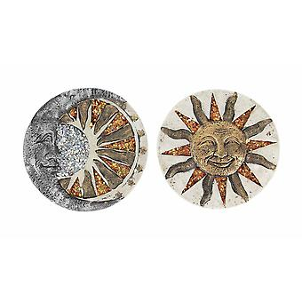 Set Of 2 Ceramic Sun Moon Stepping Stones Hanging Garden Walkway Decorative Art