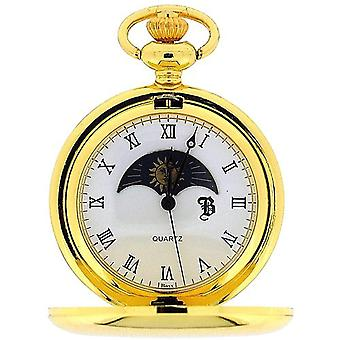 Boxx Goldtone Sun and Moon Phase Dial Pocket Watch 12 Inch Chain BOXX192