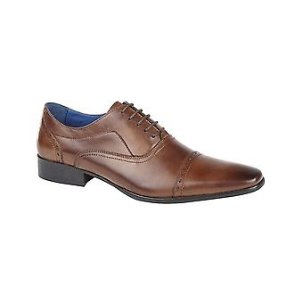 Roamers Burnished Tan Leather 5 Eyelet Punched Cap Oxford Pvc Sole