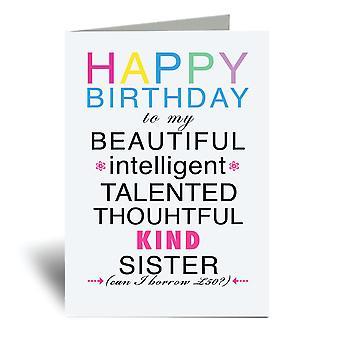 Feliz cumpleaños hermana divertida A6 tarjeta de felicitación
