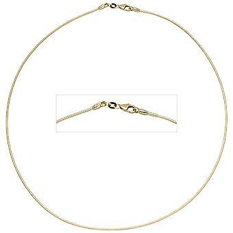 المرأة الخانق 585 الذهب الأصفر 1.1 ملم 42 سم سلسلة ذهبية قلادة الياقات الذهبية carabiner