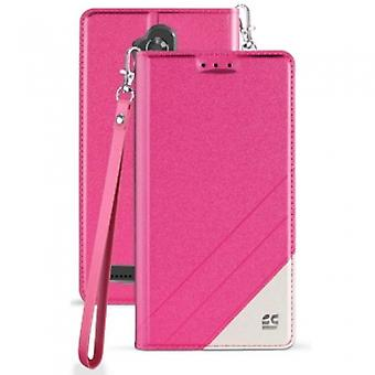 ZTE BLADE MAX 3 BEYOND CELL INFOLIO C SERIES LEATHER CASE - PINK/WHITE